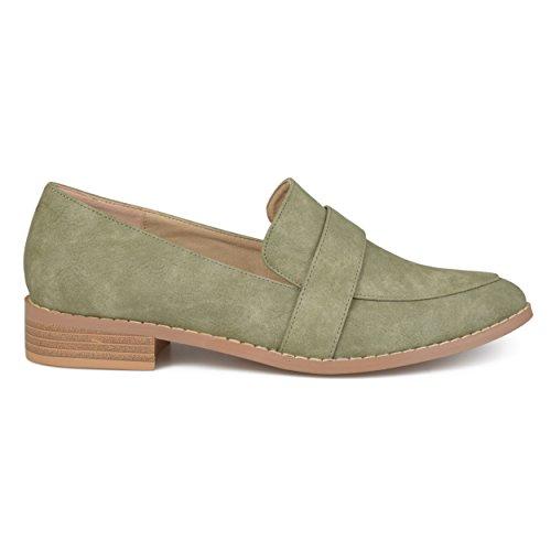 Brinley Co Dames Faux Leder Amandel Teen Klassieke Loafers Groen