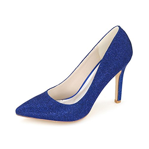 L@YC Women Wedding Shoes / Pointed Silk Wedding Night Party & High Heels / Multi-Color Large Yards Blue