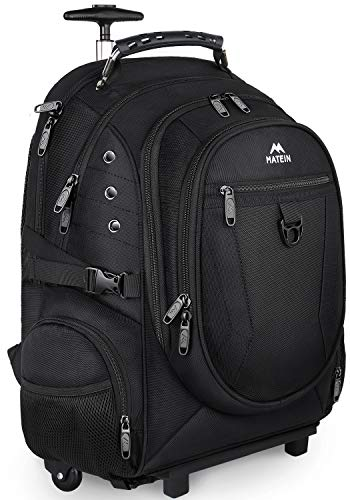 Matein Rolling Backpack, Travel Backpack with Removable Wheels for Men and Women, Roller Backpack fit 17 inch Laptop for Business, School, College, Black