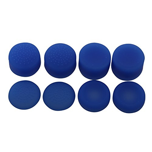 eJiasu Silicone Rubber Increased Rocker Cap Analog Thumbsticks&Thumbgrips for Sony Playstation 4 PS4 Controller (8pcs,One Set Blue)