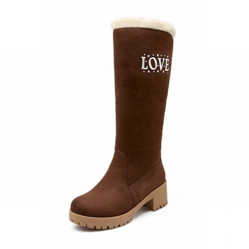 Decorations Carolbar Boots Snow Heel Fashion Winter Womens Metal Mid Brown Warm Alphabets S7wfOq7