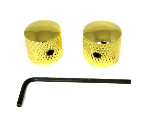 2-pack Potentiometer Knobs: Dome-Top Knurled Gold with Set S