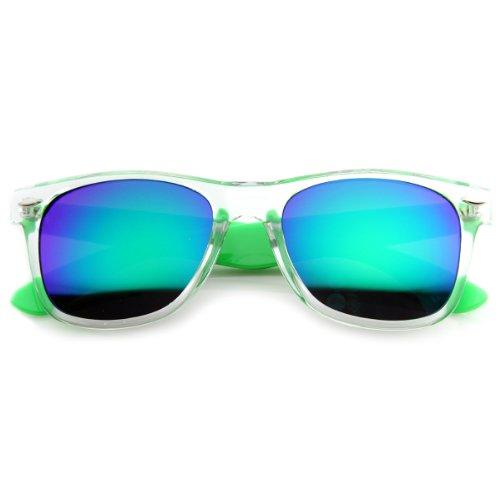 zeroUV - Bright Two-Tone Transluscent Acetate Horn Rimmed Sunglasses w/ Color Mirror Lens - Bright Sunglasses Green