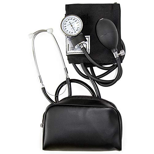 HealthSmart Manual Blood Pressure Monitor for Adult Upper Arm, Standard Cuff Size 10-14 inches with Attached Stethoscope, Black