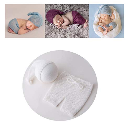 Vemonllas Fashion Cute Newborn Boy Girl Baby Costume Outfits Photography Props Hat Pants (White) -