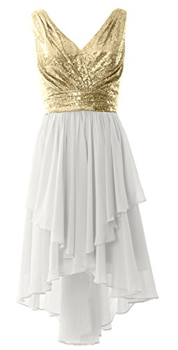MACloth Women Straps V Neck Sequin Chiffon High Low Prom Dress Formal Party Gown Champagne-Ivory