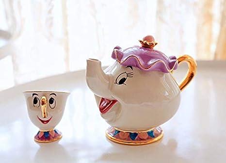 Una Taza HSXOT Belleza De Dibujos Animados con Taza De Tetera Bestia Dama Potts Pieza Taza De Tetera Establece Un Buen Regalo para Los Amigos Una Taza Una Olla