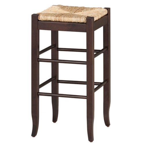 (Boraam 94829 Square Rush Seat Bar Height Stool, 29-Inch, Cappuccino)