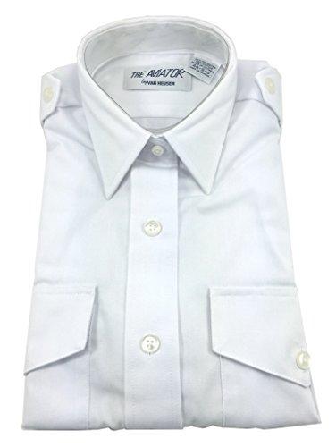 Van Heusen Women's Aviator Pilot Shirt - Short Sleeve, White, 16