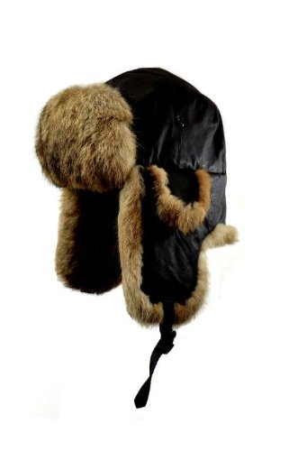 Crown Cap Napa Leather Rabbit Trimmed Aviator With Rabbit Fur (Small, Brown/Natural) (Aviator Trimmed)