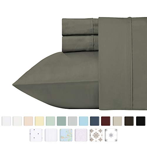 California Design Den 400 Thread Count 100% Cotton Sheet Set, Slate Grey Twin Sheets 3 Piece Set, Long-Staple Combed Pure Natural Cotton Bedsheets, Soft & Silky Sateen Weave