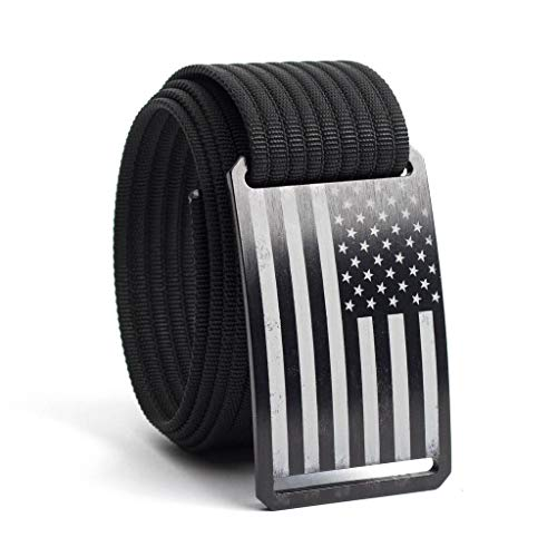 38 Inch Black American Flag Belt Buckle w/Black Strap