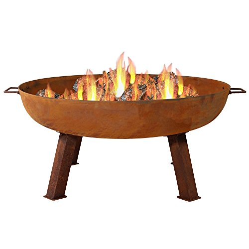 Sunnydaze Cast Iron Outdoor Fire Pit Bowl - 34 Inch Large Round Bonfire Wood Burning Patio & Backyard Firepit for Outside with Portable Fireplace Metal Handles, Rustic ()