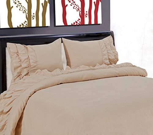 - NEW GYPSY STYLE MICROFIBER PILLOW CASES FLAT FITTED BED SHEET SET RUFFLE 3/4PC/Full/Taupe