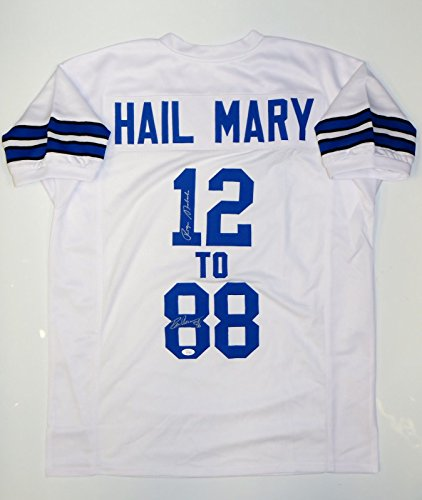 Hail-Mary-Roger-Staubach-Drew-Pearson-Autographed-White-Jersey-JSA-W-Auth