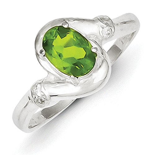 Sterling Silver Lime Green Oval Cubic Zirconia Ring - Size 8 Lime Green Cubic Zirconia Ring