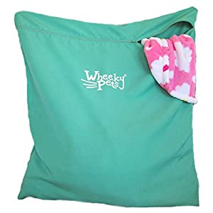 "Wheeky Pets Laundry Helper, Laundry Bag for Pet Beds, Fleece, C&C Cage Liners, Midwest Cage Liners and More, for Guinea Pigs, Rabbits and Small Pets, Green/White, Size 29"" W x 31"" L 30"