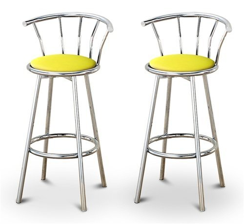 Cheap 2 Yellow Vinyl Specialty / Custom Chrome Barstools with Backrest Set