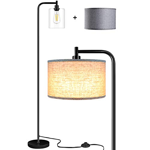 Qimh Floor Lamp with 2 Lamp Shades (HD Glass,Gray Flax) & Edison Bulb,Indoor Pole Light to Match Living Room,Bedroom in…