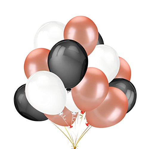 Durable Service 50Pcs Rose Gold Black White Color Latex Party Balloons For Wedding Hawaii