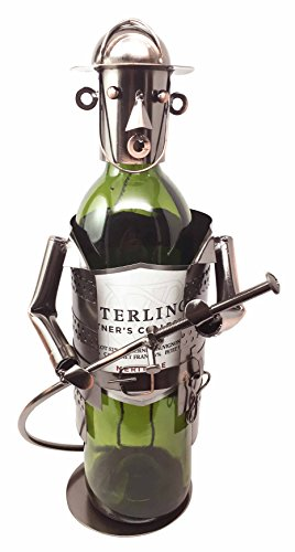 Fireman Bottle Wine (Fireman Fire Fighter Emergency Duty Hand Made Metal Copper Finish Wine Bottle Holder Caddy)