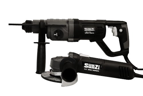 SunZI PT05625-11 1-Inch SDS 4-Mode Rotary Hammer and 4-1/2-Inch Angle Grinder w/ Tool Box and 5 (3 Mode Sds Hammer)
