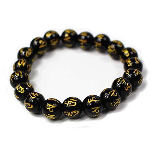 Fengshui Hand Carved Sanskrit Mantra Beads Bracelet Symbol of Wealth Health Lucky(Black L)