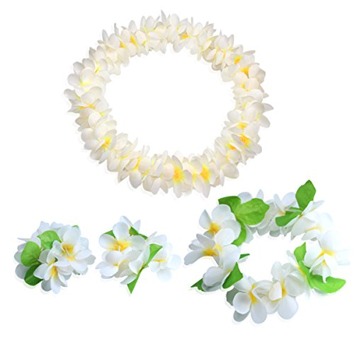 CISMARK Hawaiian Flower Leis Jumbo Necklace Bracelets Headband Set(white) -