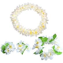 CISMARK Hawaiian Flower Leis Jumbo Necklace Bracelets Headband Set