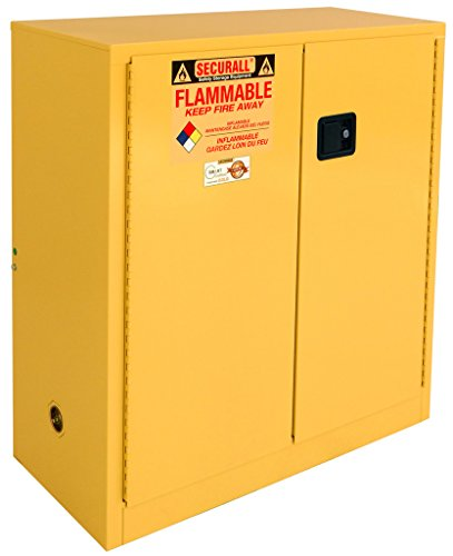 SECURALL A130 Flammable Safety Cabinet, 30 Gallon Cap, 18 Gauge Steel, 44 x 43 x 18 in, 2-Door, FM Approved, OSHA Comp. 15 YR Warranty - Yellow