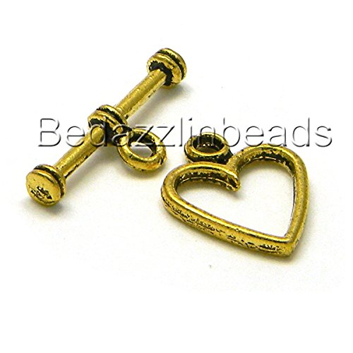 10 Heart Toggle Bar & Ring Jewelry Clasps Plated Over Pewter Base Metal (Antique Gold) (Toggle Heart Pewter)