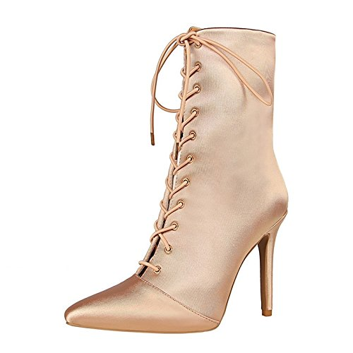 ZHZNVX Almond Shoes Booties Stiletto Buckle Shoes Toe Almond Ankle Dress HSXZ Walking Pointed Spring Women's Comfort Boots Boots For Fall Leatherette Heel rnr61Bwv