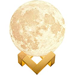 alphageex REALISTIC Luna Moon Lamp 5.9in 15cm 3D Printed Bedside LED Touch Sensor Dimmable Rechargeable Baby Nursery Lamp Kids Desk Lamp Novelty Cool Cute Lamp