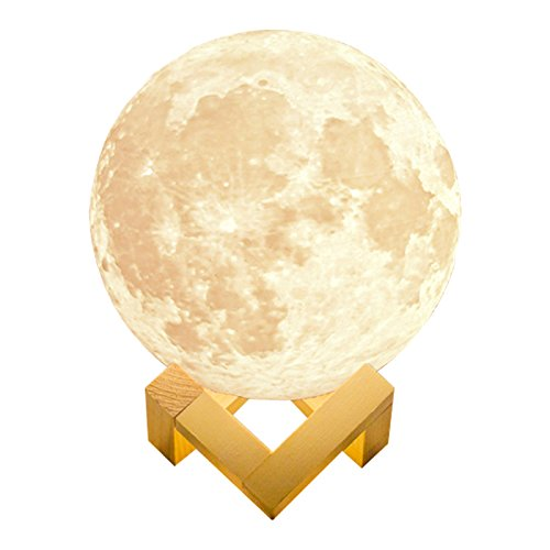 - alphageex REALISTIC Luna Moon Lamp 5.9in 15cm 3D Printed Bedside LED Touch Sensor Dimmable Rechargeable Baby Nursery Lamp Kids Desk Lamp Novelty Cool Cute Lamp