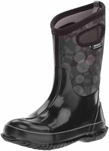 Bogs Kid's Classic High Waterproof Insulated Rubber Neoprene Rain Boot Snow, Circles Print/Black/Multi, 8 M US Toddler