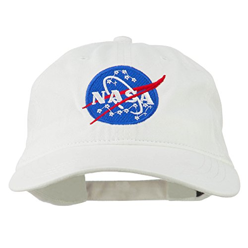 NASA Insignia Embroidered Pigment Dyed Cap - White OSFM - Embroidered Cap Embroidered Hat