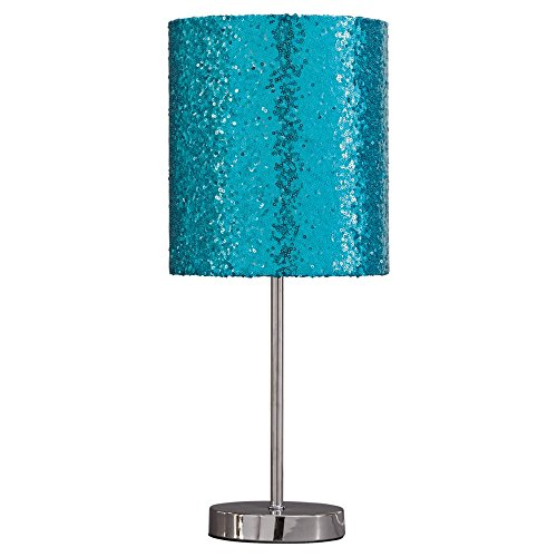 Ashley Furniture Signature Design - Maddy Metal Table Lamp with Drum Shade - Children's Lamp - Teal & Silver (Aqua Seas Table Lamp)