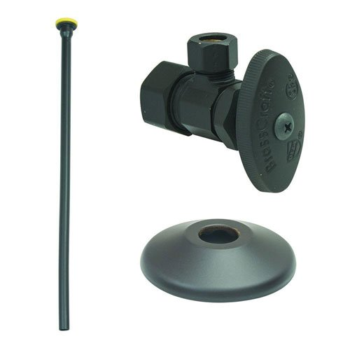 "BrassCraft OCR1912DLX BZ Faucet Kit: 1/2"" Nom Comp x 3/8"" O.D Comp Multi-Turn Angle Valve with 12"" Riser, Flange in Oil Rubbed Bronze"
