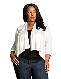 SWAK Womens Plus Size 3/4 Long Sleeve Top Casual Open Cardigan