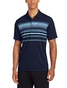 adidas Golf Men's Climacool Chest Multi-Stripe Jersey Polo, Navy/Crisp/Ultramarine, Small