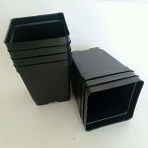 100–4,25Pulgadas Cuadrado Negro Plástico de profundidad guardería macetas plantas plantas flores