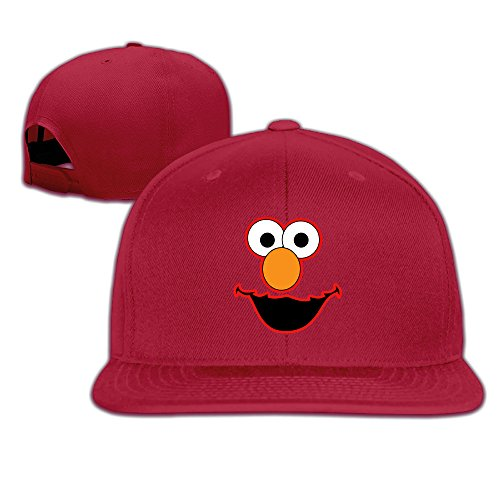 Elmo Face Fitted Flat Bill Baseball Caps