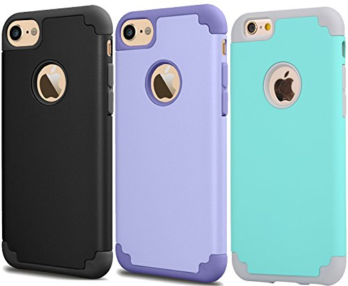 [3Pack]iPhone 6 Case,iPhone 6s Case,iBarbe slim fit Rubber PC Shockproof Heavy Duty Protection Case with soft Inne+Hard Bumper for Apple iPhone 6 6s (4.7 inch) phone-purple+black+teal