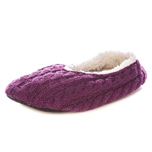 Zapatillas De Ballet Interiores De Noble Mount Mujeres Cable Knit Purple