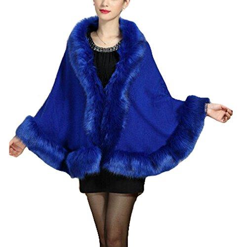 Cape Faux Fur tricot Fox manteau aux cape Chale femmes Manteau PLAER royal bleu xS6Yaqn