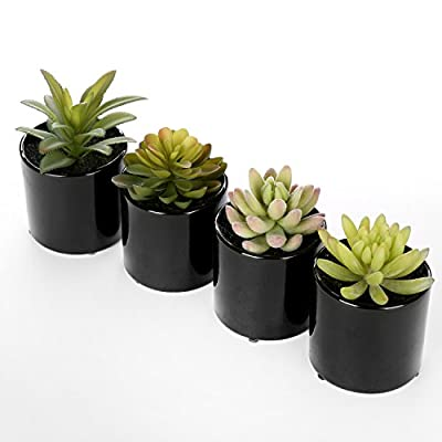 Set of 4 Highly Realistic Green Artificial Succulent Plants w/ Black Round Ceramic Plant Container Pots