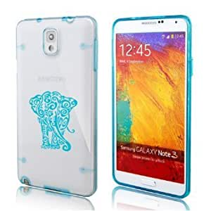 Samsung Galaxy Note 4 Ultra Thin Transparent Clear Hard TPU Case Cover Tribal Elephant (Light Blue)