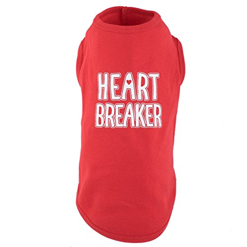 The Worthy Dog Tees Heartbreaker Pet T-Shirt for Dogs, Red, L -