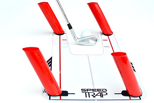 (EyeLine Golf Speed-Trap Base, 4 Red Speed Rods and Carry Bag; Shape Shots and Eliminate a Slice or Hook - Made in USA, 12