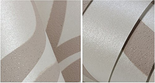 10M Modern Luxury Abstract Curve 3d Wallpaper Roll Mural Paper Parede Flocking for Striped Cream&white Color 0.7m*8.4m=5.88SQM by DAIWEI (Image #5)